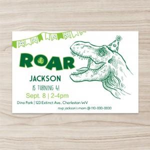 """Dinosaur"" Party Invitation , Horizontal Single Sided, 50 sheets per pack"