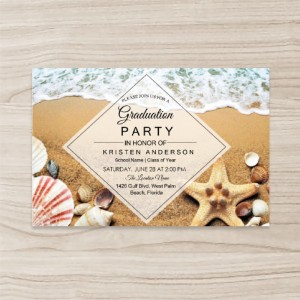 """Beach"" ""starfish"" Party Invitation, Horizontal, Single Sided, 50 sheets per pack"