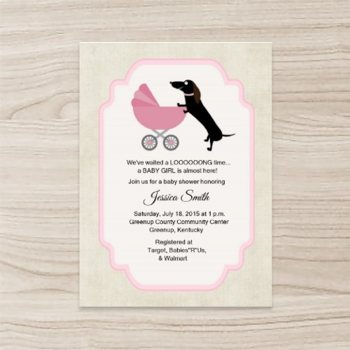 """""""dog"""" """"pink"""" Baby Shower Invitation  Vertical Single Sided, 50 sheets per pack"""