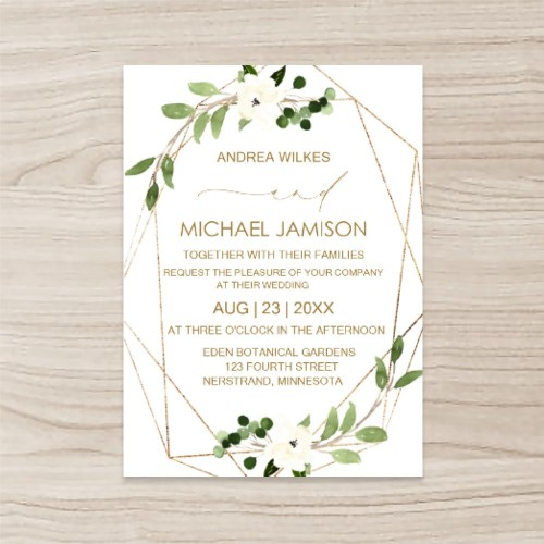 """Floral"" Wedding Invitation  Vertical, Single Sided, 50 sheets per pack"