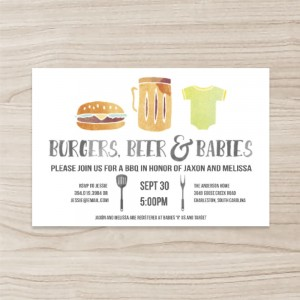 """""""Burgers,Beer"""" Baby Showe Horizontal Single Sided Invitation ,50 sheets per pack"""