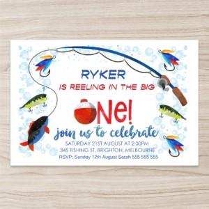 """colorful' ""fish"" Birthday Invitation, Horizontal, Single Sided, 50 sheets per pack"
