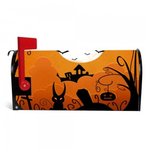 """Pumpkin"" ""Bat"" Halloween Mailbox Cover Sticker , Orange"