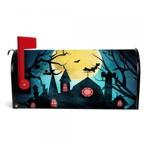 """House"" ""Moon"" Halloween Mailbox Cover Sticker , blue"