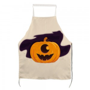 """Halloween Big Pumpkin"" Adult apron with two pockets 27.5"" x 31.5"""