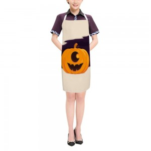 """Halloween Big Pumpkin"" Adult apron 27.5"" x 31.5"""