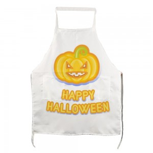 """Halloween Angry Pumpkin"" Adult apron with two pockets 27.5"" x 31.5"""