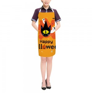 """Halloween One Eye Cat"" Adult apron 27.5"" x 31.5"""