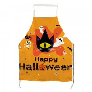 """Halloween One Eye Cat"" Adult apron with two pockets 27.5"" x 31.5"""