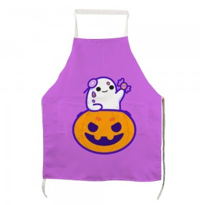 """Halloween Candies Pumpkin"" Adult apron with two pockets 27.5"" x 31.5"""