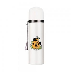 """Halloween Cat"" Customize Vacuum Bottle 12oz, White"