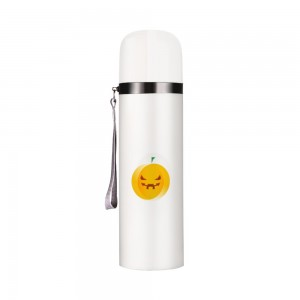 """Halloween Angry Pumpkin"" Customize Vacuum Bottle 12oz, White"
