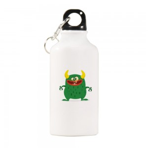 """Halloween Green Monster"" Sports Water Bottle White Color 13.5oz"