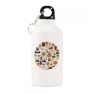 """Halloween Circle"" Sports Water Bottle White Color 13.5oz"