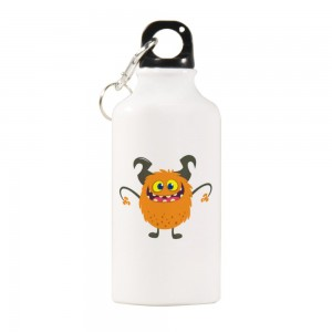 """Halloween Monster hey"" Sports Water Bottle White Color 13.5oz"