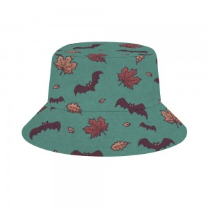 """Halloween Bat & Leaves"" Adult Fisherman's Hat"