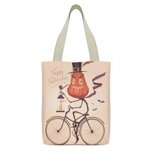 """""""Bicycle"""" """"Pumpkin"""" Tote Bag,  small pocket with zipper 13""""X15"""""""