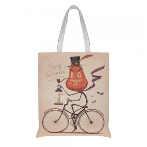 """""""Bicycle"""" """"Pumpkin"""" Cotton and linen Tote Bag"""