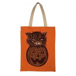"""""""Cat"""" """"Pumpkin"""" Canvas Tote Bag"""