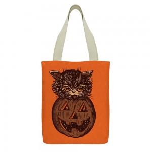"""""""Cat"""" """"Pumpkin""""  Tote Bag,  small pocket with zipper 13""""X15"""""""