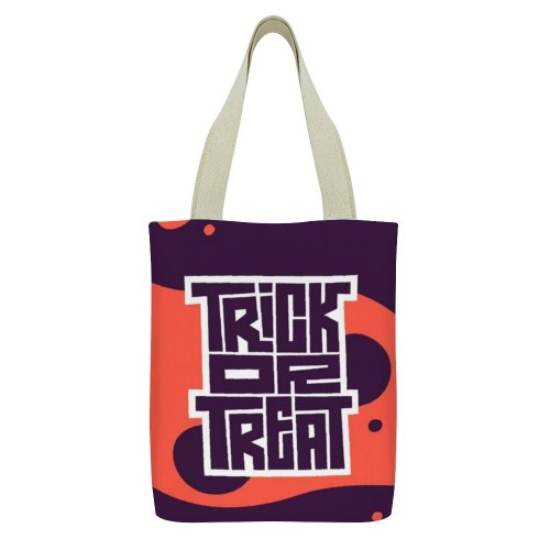 """Trick or Treat"" Tote Bag, small pocket with zipper 13""X15"""