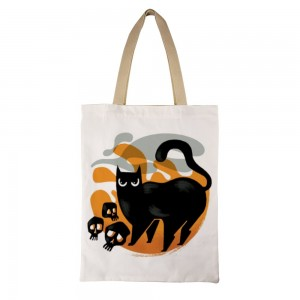 """Cat"" ""Spooky"" Tote Bag  single-sided  13.8""x 17.7"""