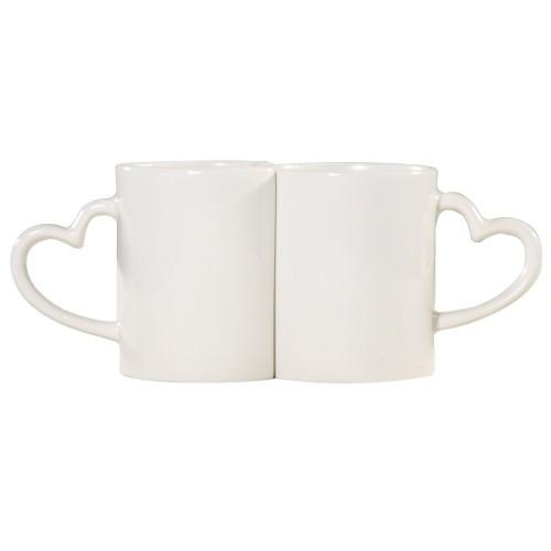 """""""Halloween""""""""Witch"""" ,White Color Couple Mug Set, Heart Shape Handle"""