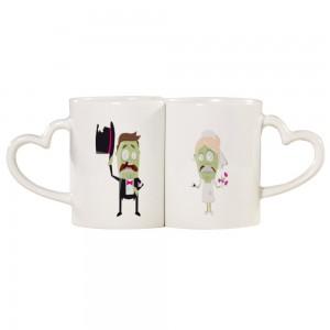 """""""Halloween"""" ,White Color Couple Mug Set, Heart Shape Handle"""