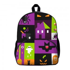 """Bat"" ""Spooky"" Backpack School Bag with small front pocket 11.8"" x 15.7"" x 7"""