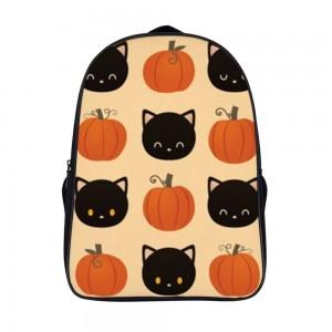 """""""Cat"""" """"Pumpkin"""" Backpack School Bag 11"""" x 15.7"""" x 6.3"""""""