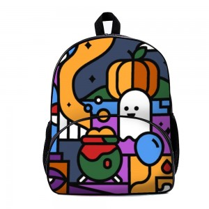 """Cute"" ""Pumpkin"" ""Spooky"" Backpack School Bag with small front pocket 11.8"" x 15.7"" x 7"""