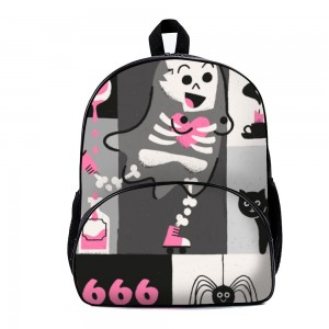 """Cute skull"" Backpack School Bag with small front pocket 11.8"" x 15.7"" x 7"""