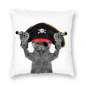 """Cat"" ""Pirate""  Plush fabrics pillowcase"