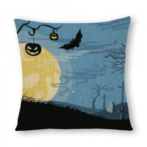 """Bat"" ""moon"" linen pillowcase"