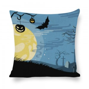 """Bat"" ""moon"" White linen pillowcase"
