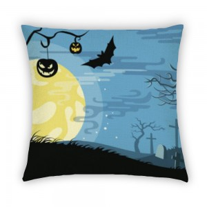 """Bat"" ""moon"" Light cotton linen pillowcase"