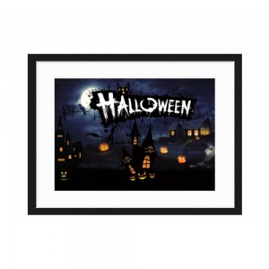 """Halloween""""customize"" Horizontal Wooden Wall Art Sign with Frame  5.5''x 8"""