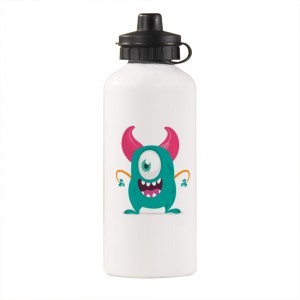 """Halloween Blue Monster"" Sports Water Bottle White 20oz"