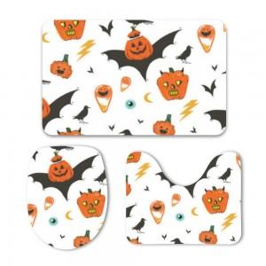 """""""Halloween Bat-wing Pumpkin"""" Mat Set 3-Piece Soft Bath"""