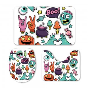 """""""Halloween Boo Yay"""" Mat Set 3-Piece Soft Bath"""