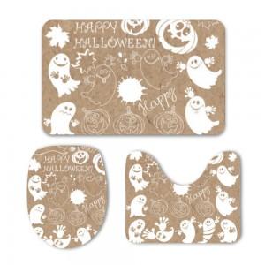 """Halloween Happy Ghosts"" Mat Set 3-Piece Soft Bath"