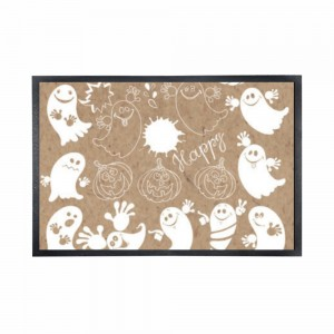 """Halloween Happy Ghosts"" Black Rubber Non-woven Mat 15.7"" x 23.6"""