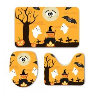 """""""Halloween Cooking Cat"""" Mat Set 3-Piece Soft Bath"""