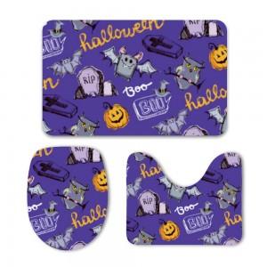 """""""Halloween Purple"""" Mat Set 3-Piece Soft Bath"""