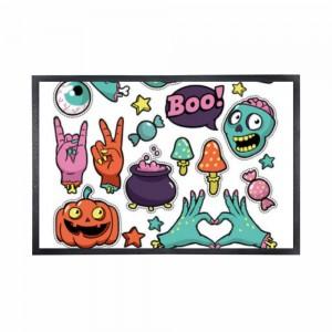 """""""Halloween Boo Yay"""" Black Rubber Non-woven Mat 15.7"""" x 23.6"""""""
