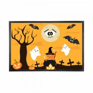 """""""Halloween Cooking Cat"""" Black Rubber Non-woven Mat 15.7"""" x 23.6"""""""