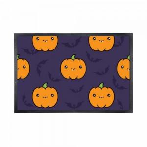 """""""Halloween Cute Pumpkin"""" Black Rubber Non-woven Mat 15.7"""" x 23.6"""""""