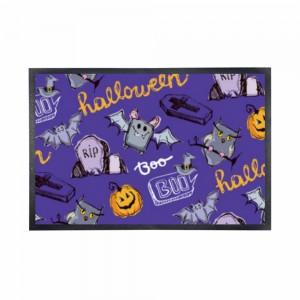 """Halloween Purple"" Black Rubber Non-woven Mat 15.7"" x 23.6"""