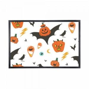 """""""Halloween Bat-wing Pumpkin"""" Black Rubber Non-woven Mat 15.7"""" x 23.6"""""""