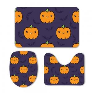 """""""Halloween Cute Pumpkins"""" Mat Set 3-Piece Soft Bath"""